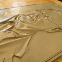 Woudstra clay bas relief