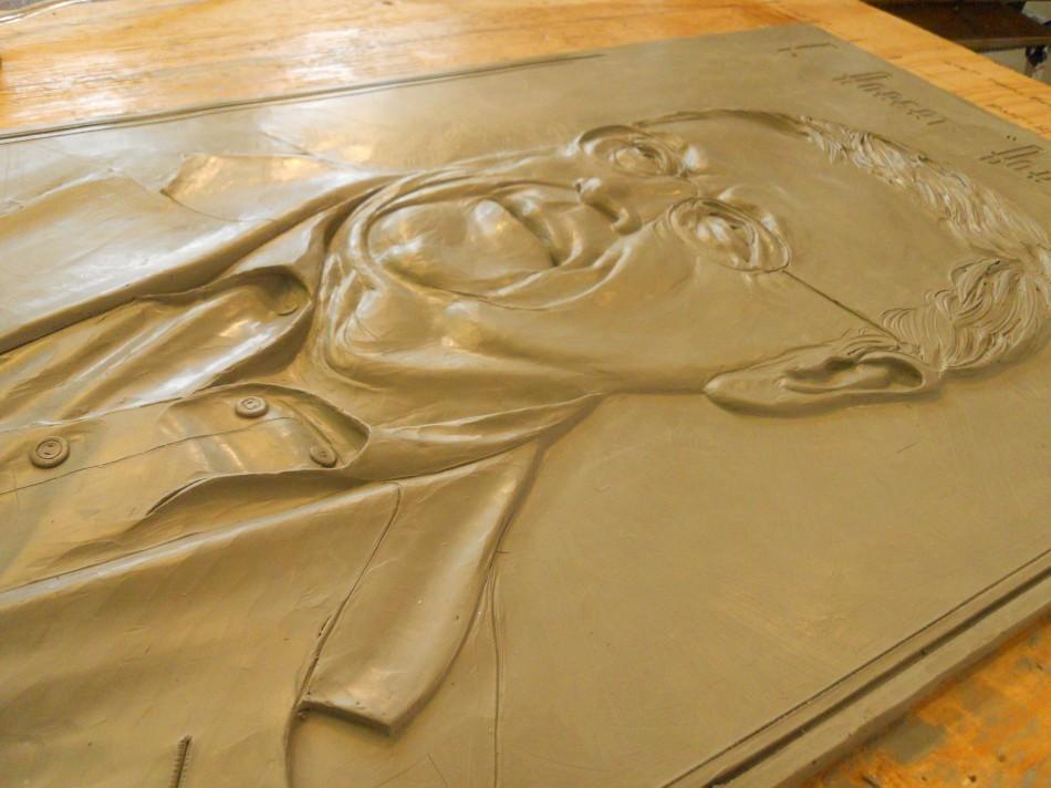 Woudstra clay bas relief