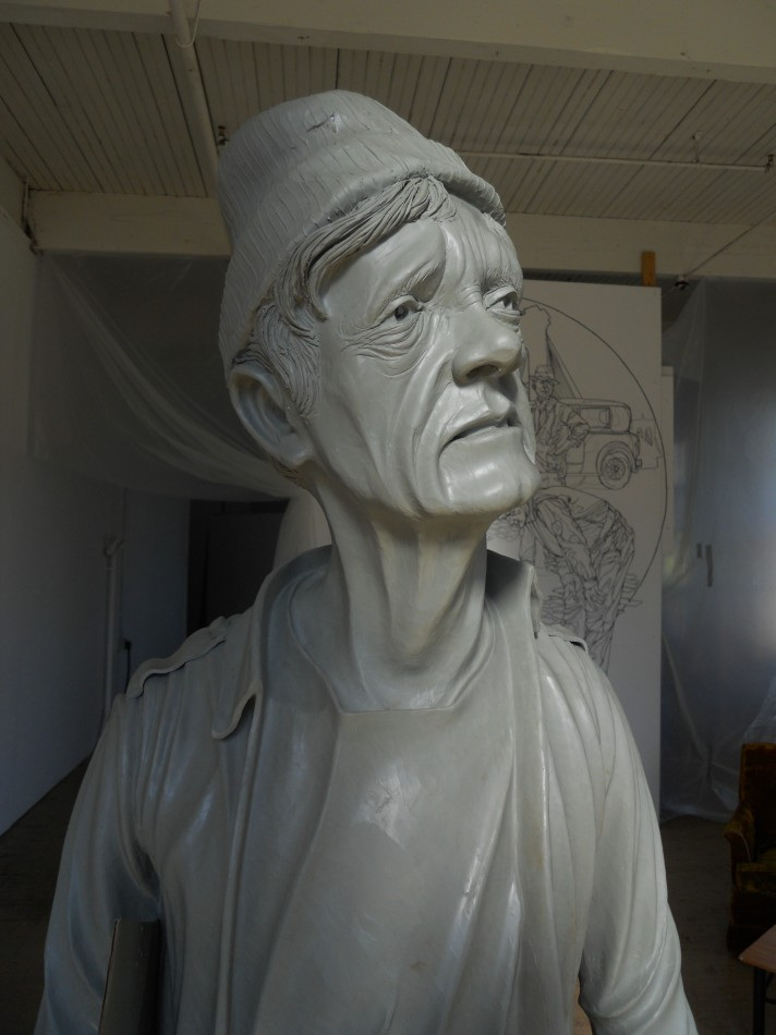 Bust of Homeless Man in clay
